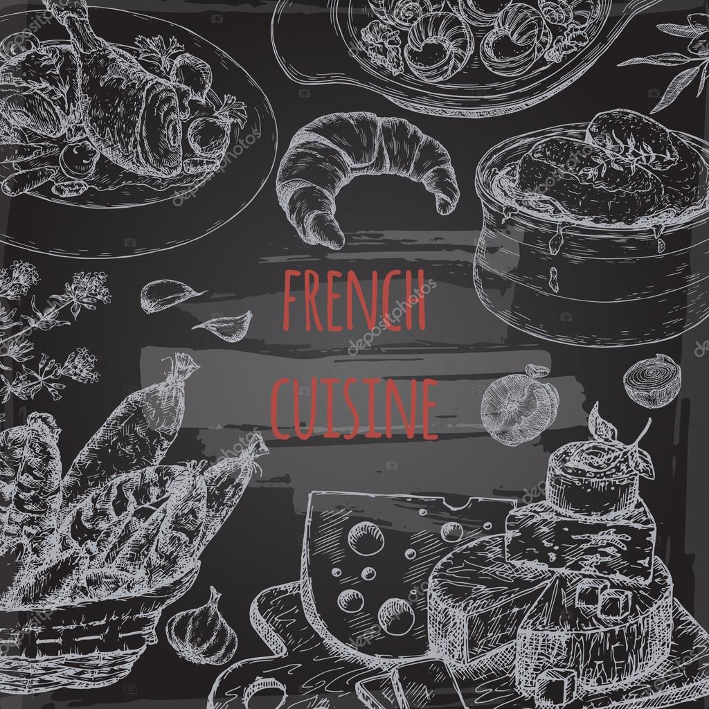 french cuisine template on blackboard with soup chicken cheese