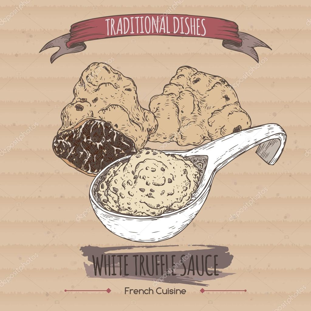 Color white truffle sauce sketch placed on cardboard background.