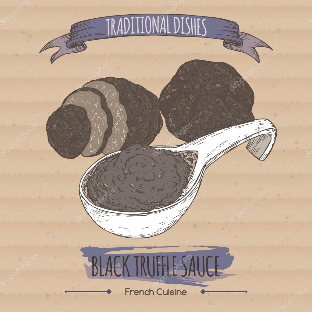 Color black truffle sauce sketch placed on cardboard background.