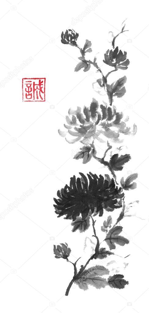 Pintura tinta original de crisantemo claras y oscuras del sumi-e de ...