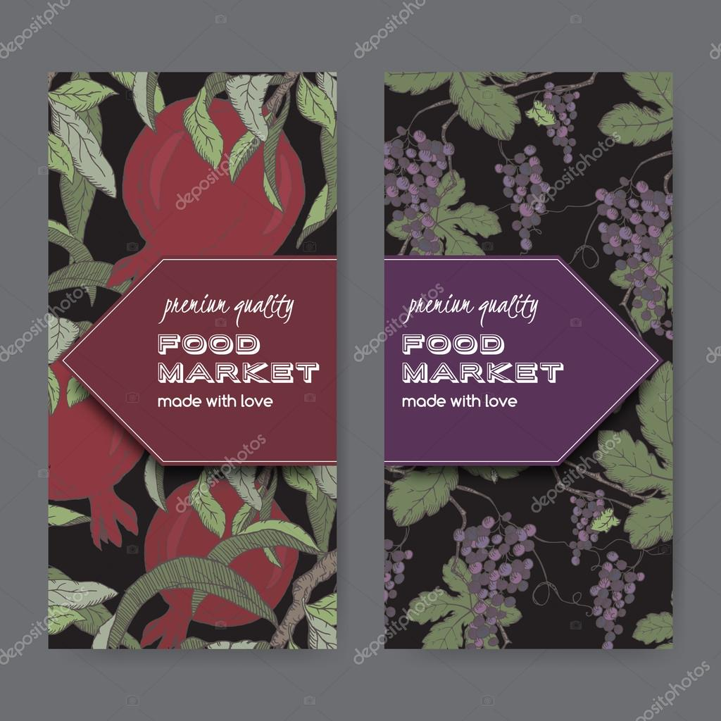 Two labels with grape and pomegranate color sketch on black