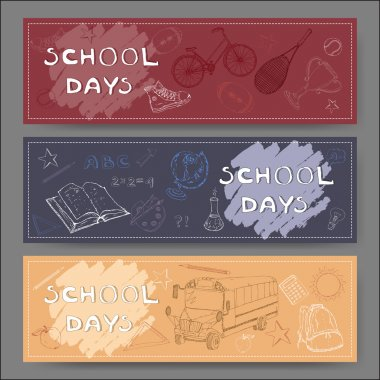 Three landscape banners with school related sketches.