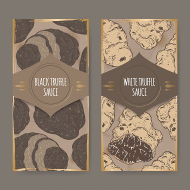 Two labels for white and black truffle sauce color sketch.