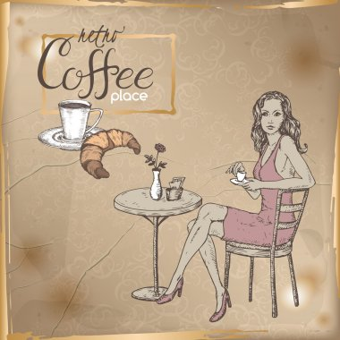Retro template with girl in street cafe, coffee cup, croissant.