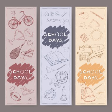 Three banners with school related hand drawn sketches.