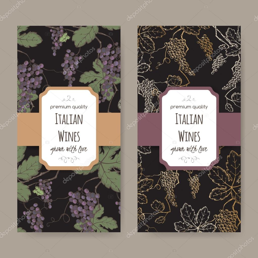 Two wine labels with color grapevine pattern on black background.