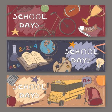 Three landscape banners with school related color sketches.