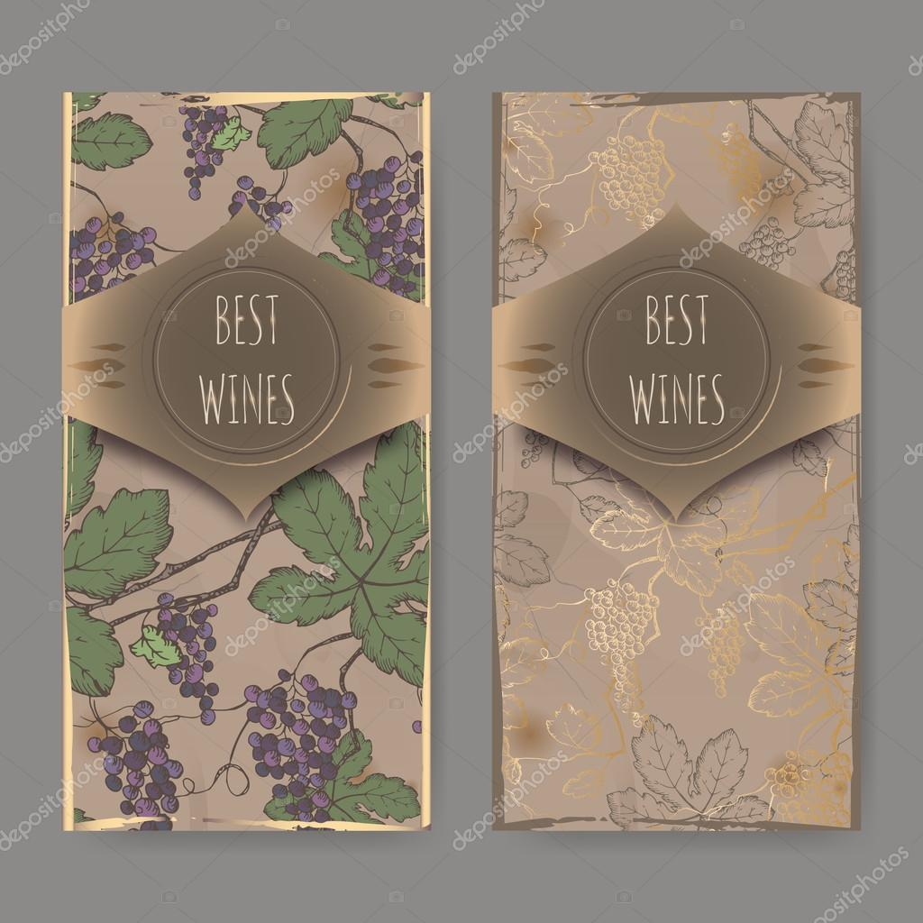 Two wine labels with color grapevine pattern on vintage background.