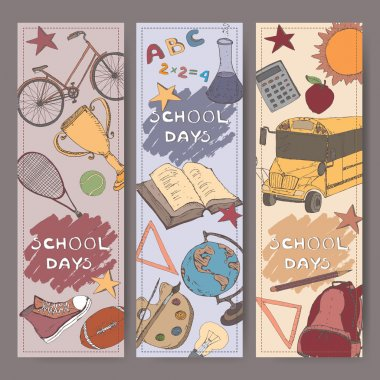 Three vertical banners with school related color sketches.