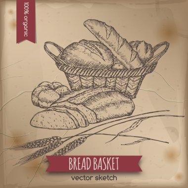 Vintage bread basket template
