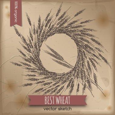 Vintage wheat wreath template