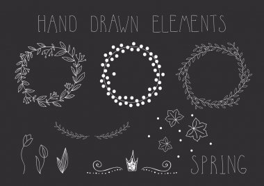 Set of hand drawn frames, wreaths and floral elements. Vector.