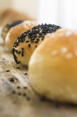 Homemade buns with sesame seeds