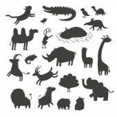 Africká zvířata siluety