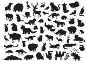 Euroasijských zvířata siluety