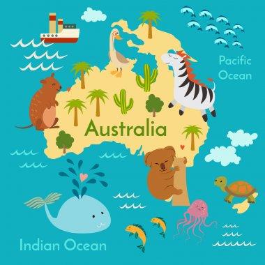 Animals world map, Australia