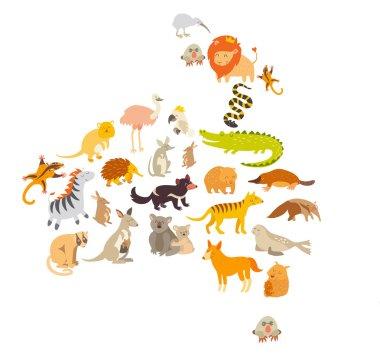Australian mammal map silhouettes