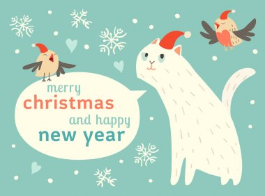 Happy Christmas card with cat