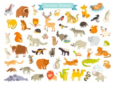 Eurasian animals vector illustration. The most complete big vector set of mammals in Eurasia. Also, birds, reptiles, aes life. Isolated on white background stock vector