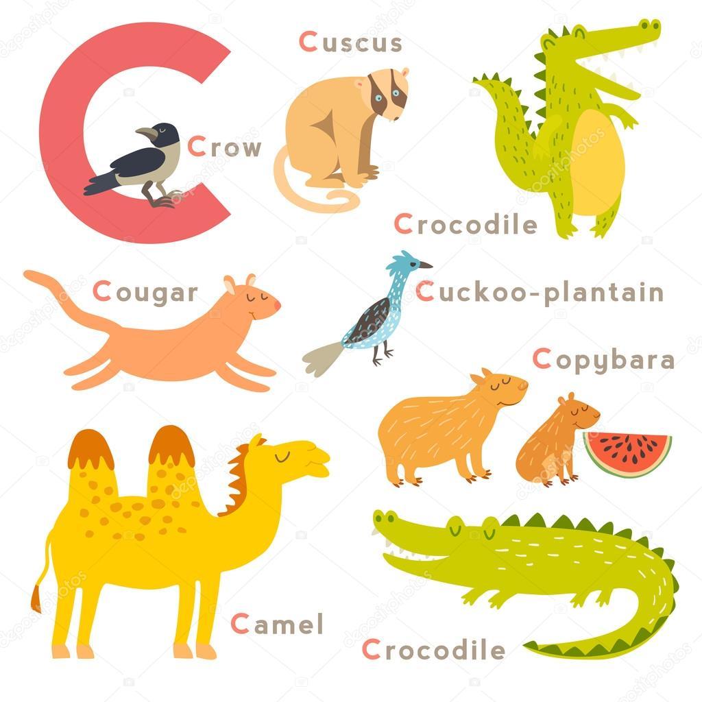c letter animals set — stock vector © coffeee_in #95722706