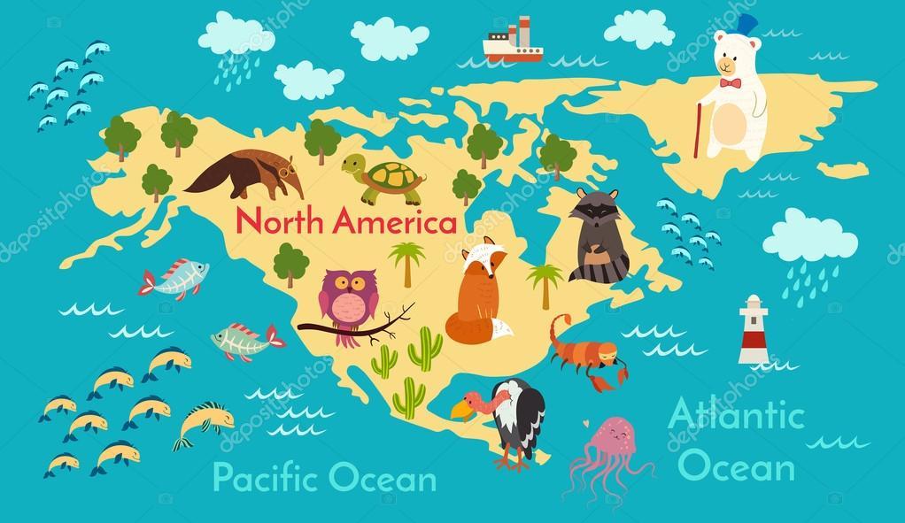 Animals world map north america archivo imgenes vectoriales animals world map north america archivo imgenes vectoriales gumiabroncs Gallery