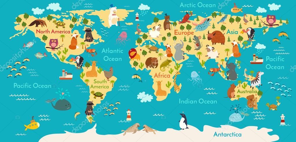 Mapa del mundo de animal vector de stock coffeeein 95723580 animals world map vector illustration preschool baby continents oceans drawn earth vector de coffeeein gumiabroncs Gallery