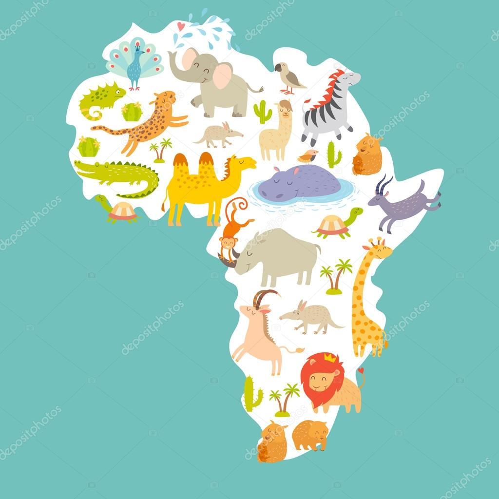 Animals world map africa stock vector coffeeein 95723710 animals world map africa stock vector gumiabroncs Choice Image
