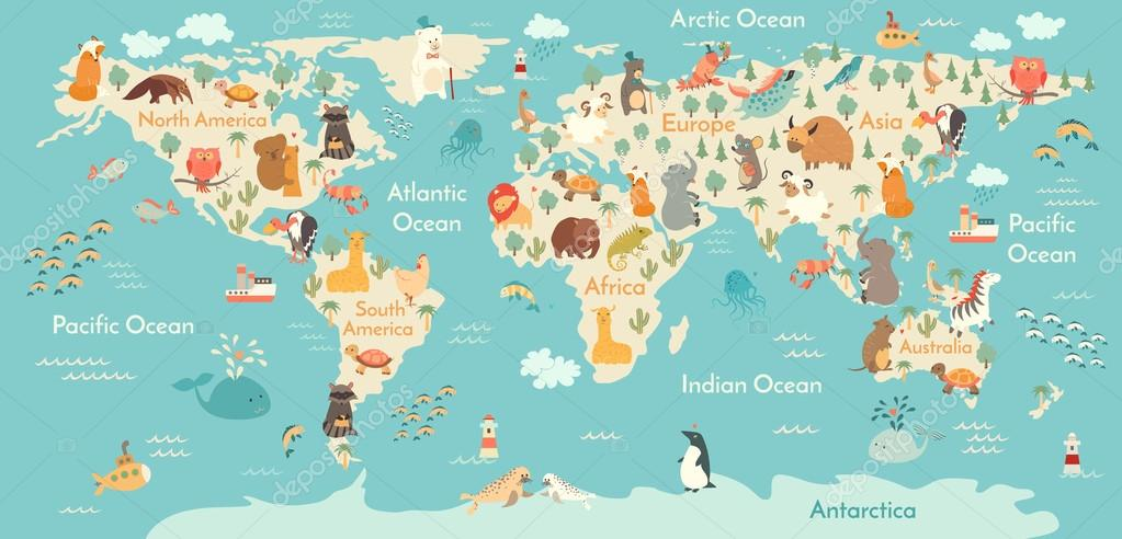 Mapa del mundo de animal archivo imgenes vectoriales coffeeein animals world map vector illustration preschool babycontinents oceans drawn earth vector de coffeeein gumiabroncs Choice Image