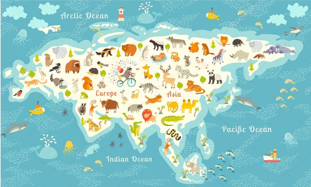 Animals world map eurasia vector de stock coffeeein 95724208 animals world map eurasia colorful cartoon vector illustration for children and kids preschool education baby continents oceans drawn gumiabroncs Images