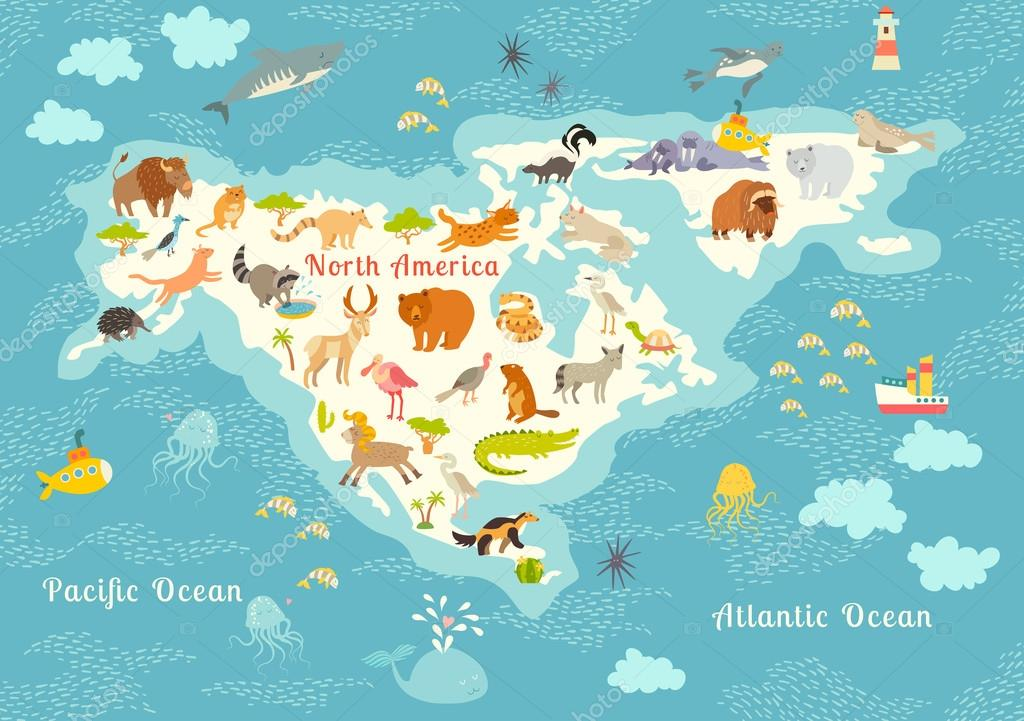 Animals World Map North America Colorful Cartoon Vector Illustration For Children And Kids Preschool Education Baby Continents Oceans Drawn