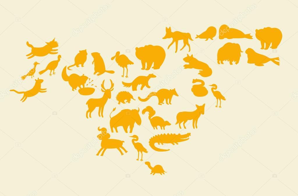 Animals world map north america vector de stock coffeeein animals world map north america vector de stock gumiabroncs Choice Image