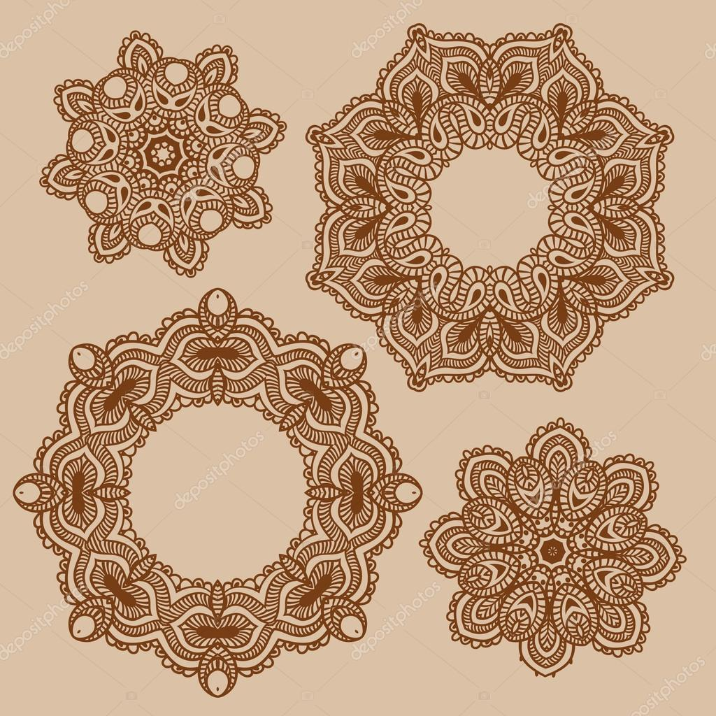 Set Of Mandala Henna Patterns Stock Vector C Coffeee In 95727278