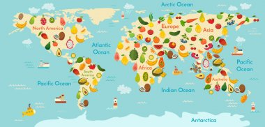 Fruits and vegetables world map