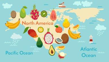 Fruit world map, North America