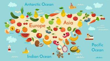 Fruit world map, Eurasia