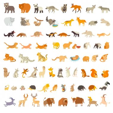 Mammals of the world. Extra big animals set. Vector illustration, isolated on a white background stock vector