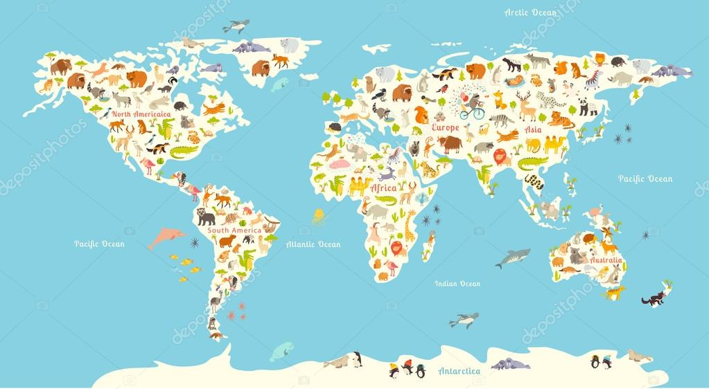 Animals world map stock vector coffeeein 97169344 animals world map beautiful cheerful colorful vector illustration for children and kids with the inscription of the oceans and continents gumiabroncs Image collections