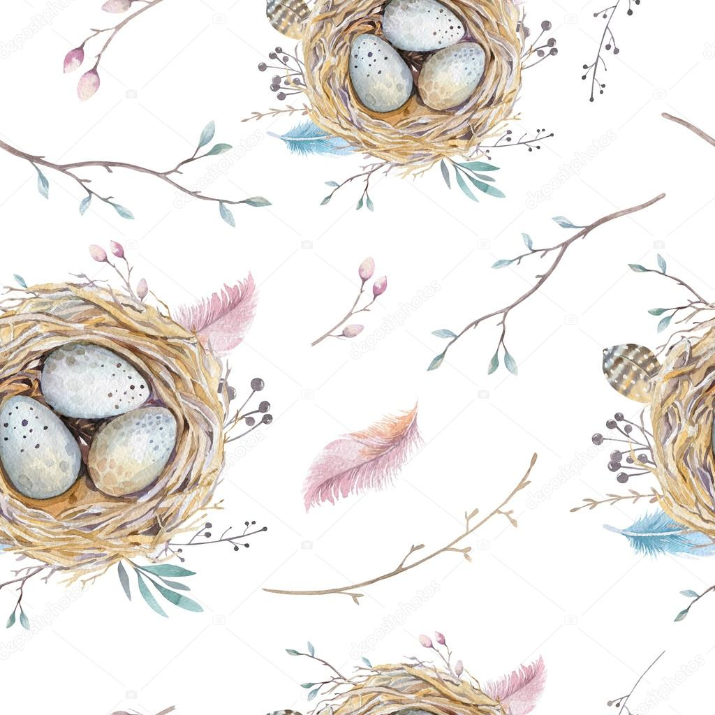 Watercolor natural floral vintage seamless pattern with nests,wr