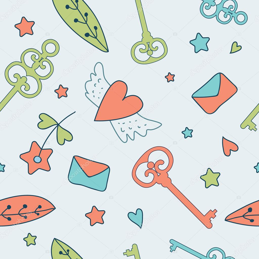Seamless vector floral pattern. Love illustration of cute keys,