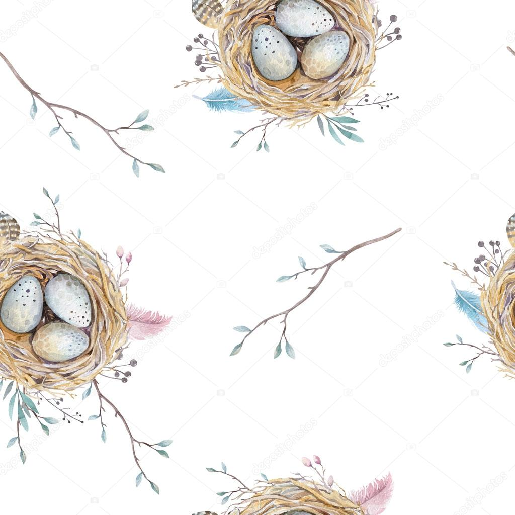 Watercolor natural floral vintage seamless pattern with nests