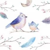 Fényképek Kézi rajz akvarell repülő a rajzfilm madár witm levelek, branche