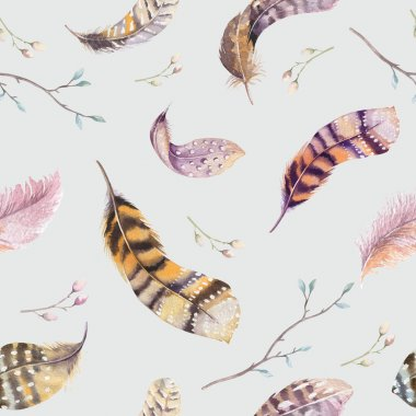 hand drawn Feathers repeating pattern. Watercolor background wit