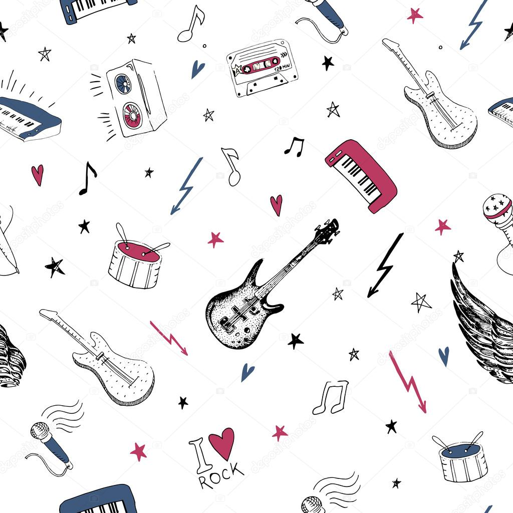 Music symbols seamless pattern rock background textures stock music symbols seamless pattern rock music background textures musical hand drawn doodle style vector by mykef biocorpaavc Image collections