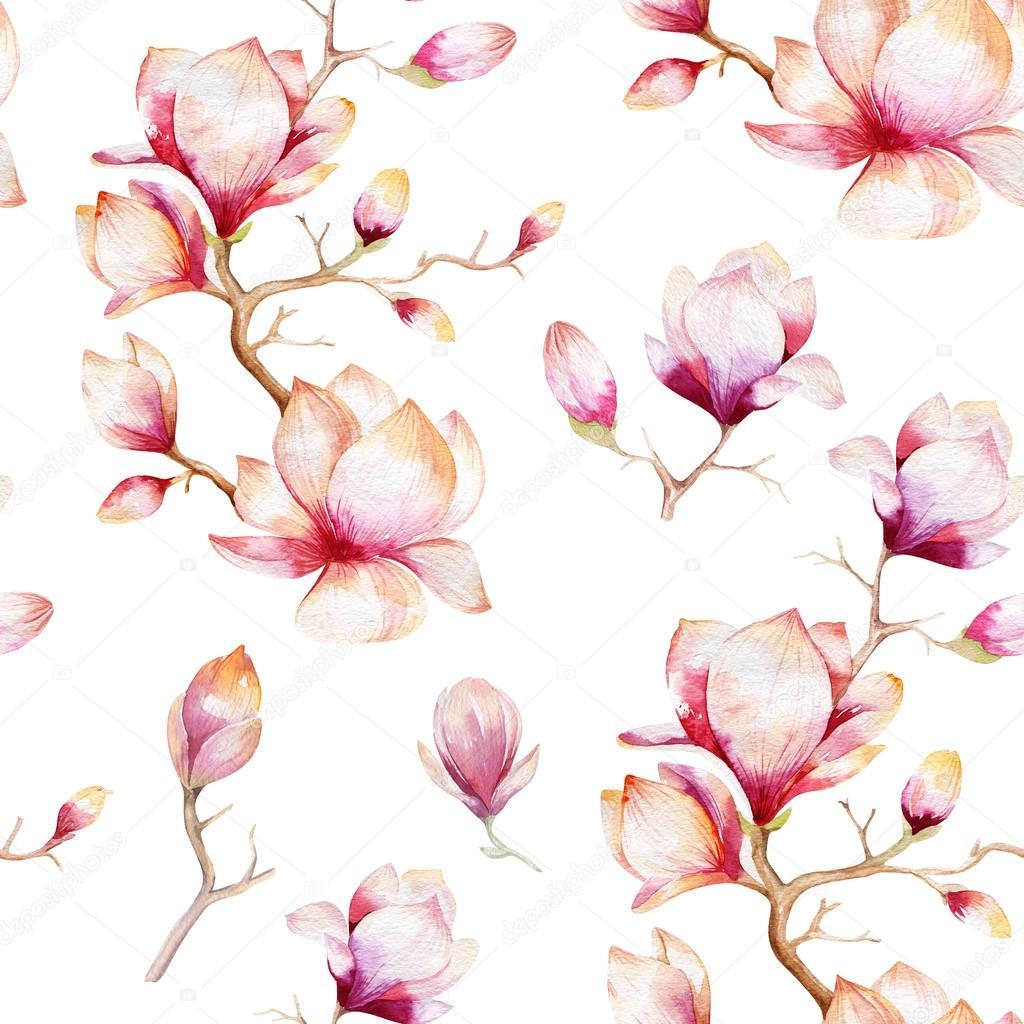 seamless wallpaper with magnolia flowers ストック写真 mykef
