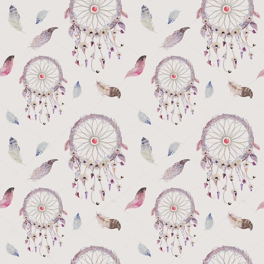 patrn de atrapasueos y plumas decoracin bohemia acuarela u foto de stock