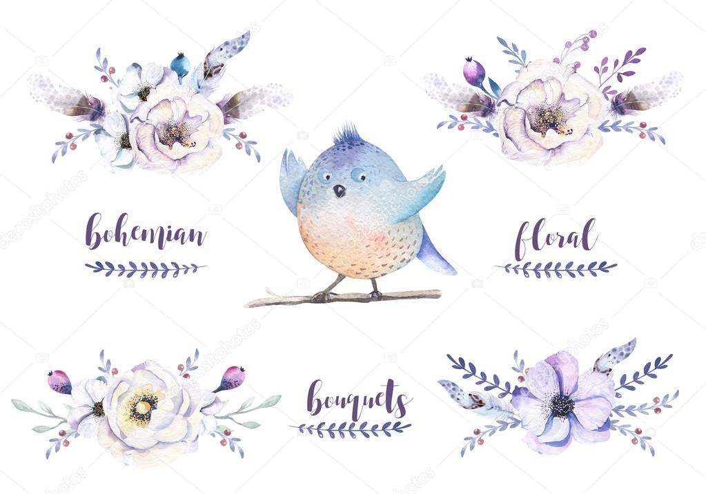 Set of watercolor vintage floral bouquets, bird with feather. Bo