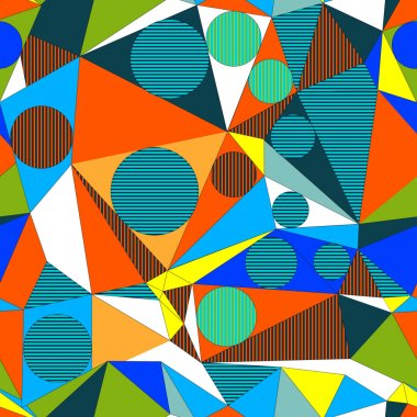Abstract decorative geometric build illusion. Seamless pattern. Vector.
