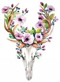 Lebka jelen s květinami