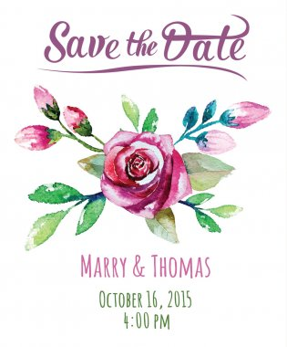 Vector Wedding invitation card with watercolor floral elements clip art vector