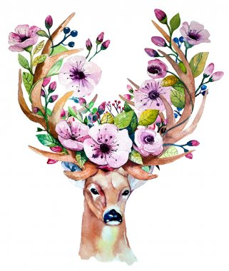 Vector watercolor illustration of hand drawn deer with flowers stock vector